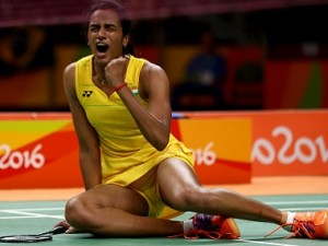 RIO DE JANEIRO, BRAZIL - AUGUST 16: V. Sindhu Pusarla of India celebrates her win over Yihan Wang of China on Day 11 of the Rio 2016 Olympic Games at Riocentro - Pavilion 4 on August 16, 2016 in Rio de Janeiro, Brazil. (Photo by Elsa/Getty Images)