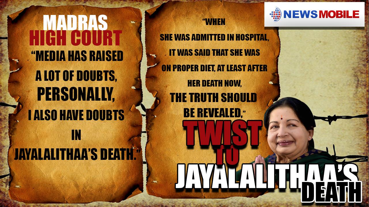 J Jayalalithaa, mysterious twist, Madras High Court, AIADMK,