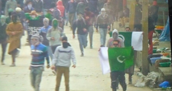 Pakistani flags, Srinagar city, security forces,