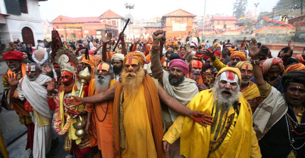 Group of sadhu's take out a Morning Rally at Pashupatinath premises on the eve of Shivaratri festival on Saturday. POST PHOTO/KIRAN PANDAY/KANTIPUR