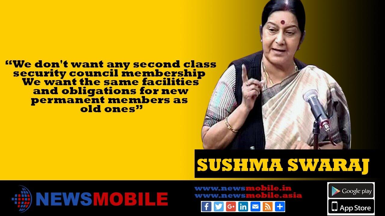 Rajya Sabha, External Affairs Minister, Sushma Swaraj, UN Security Council, India