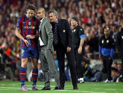© Simone Rosa/Lapresse / DPPI 28-04-2010 Barcelona (Spain) sport soccer Soccer - Championleague in the picture:  Mourinho, Guardiola and Ibramovic