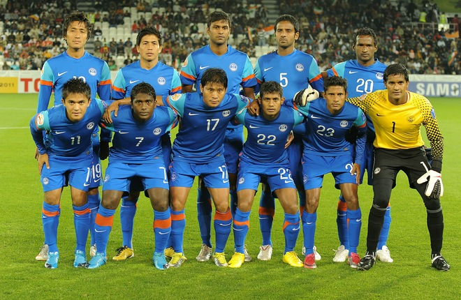 (Top L-R) India's midfielder Gouramangi Singh, midfielder Renedy Singh, forward Abhishek Yadav, defender Anwar, midfielder Climax Lawrence, (Bottom L-R) forward Sunil Chhetri, midfielder Naduparambil Pappachen Pradeep, defender Irungbam Singh, forward Syed Rahim Nabi, midfielder Steven Benedic Dias and goalkeeper Paul Subrata pose for a group picture before their 2011 Asian Cup group C football match against Bahrain at Al-Sadd Stadium in the Qatari capital Doha on January 14, 2011. AFP PHOTO / MANAN VATSYAYANA (Photo credit should read MANAN VATSYAYANA/AFP/Getty Images)