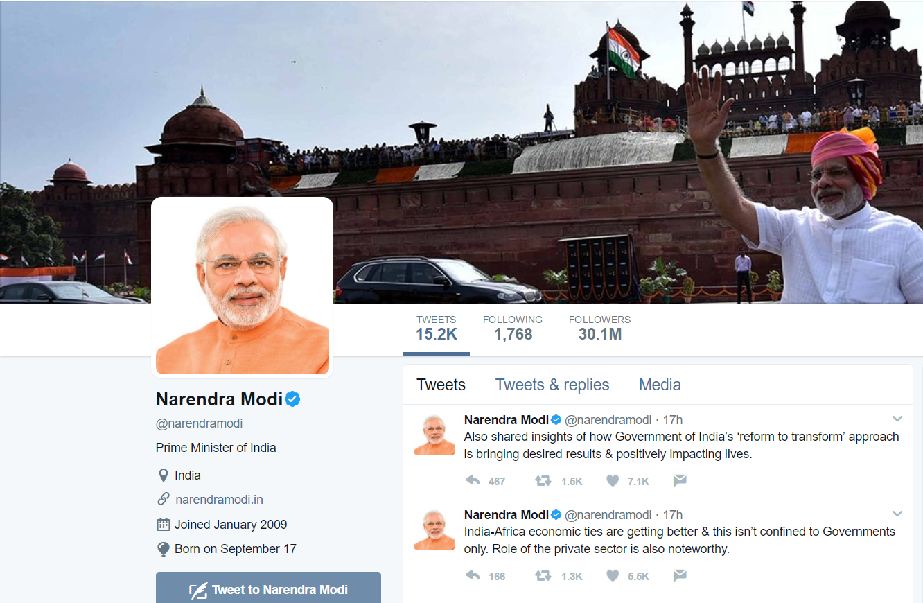 Modi's presence on Twitter rivals that of celebrities