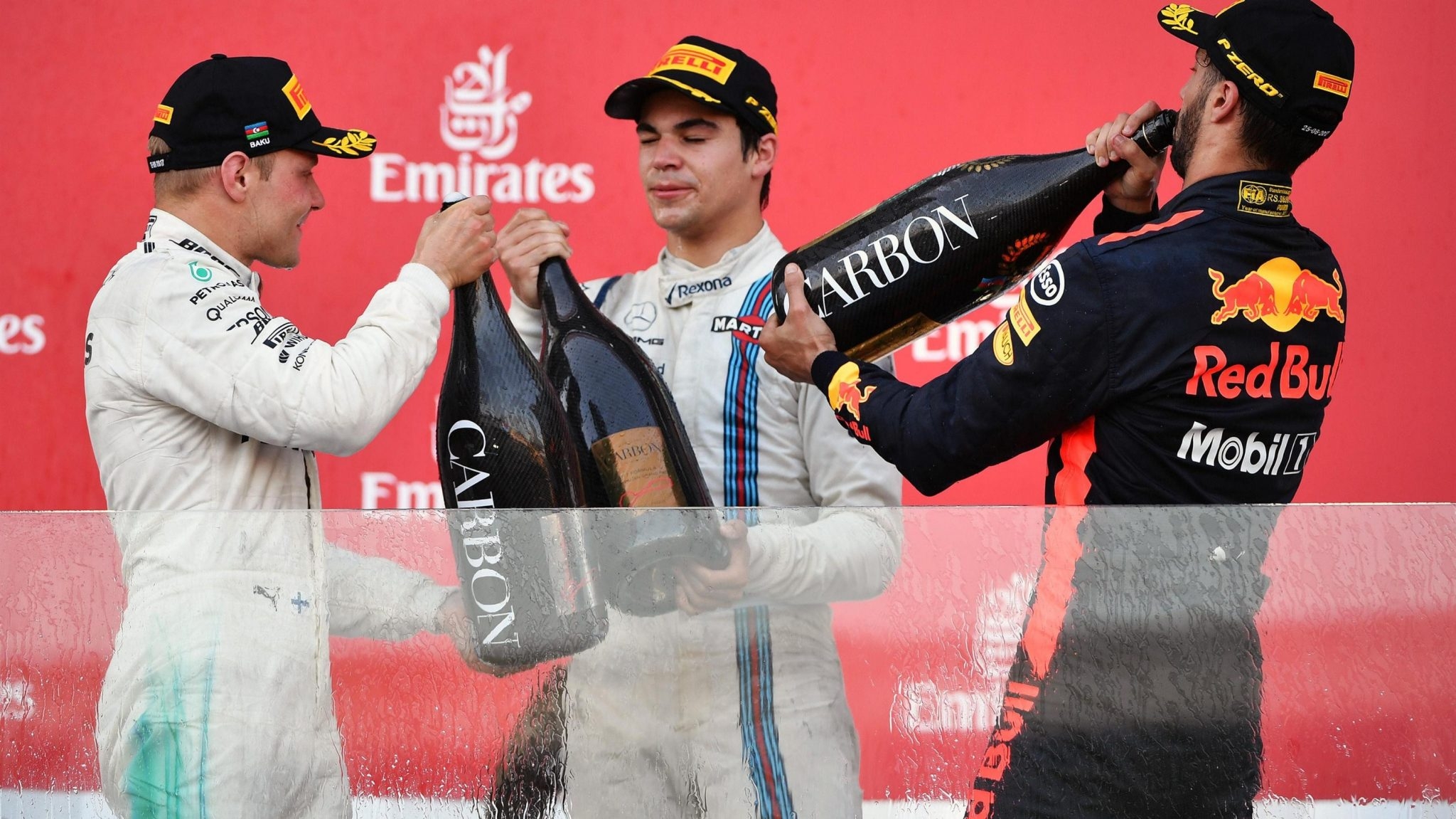 The Baku GP podium (From L to R): Bottas, Stroll, and Ricciardo