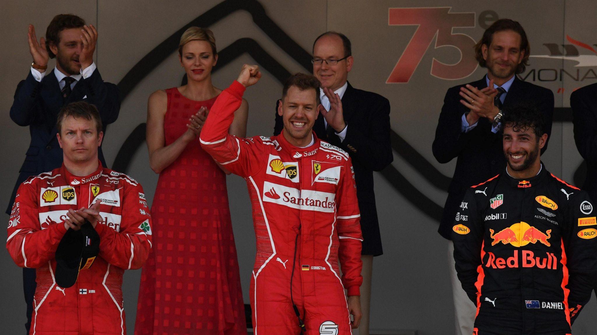 The Monaco podium (L to R): Kimi Raikkonen (2nd), Sebastian Vettel (1st), Daniel Ricciardo (3rd)