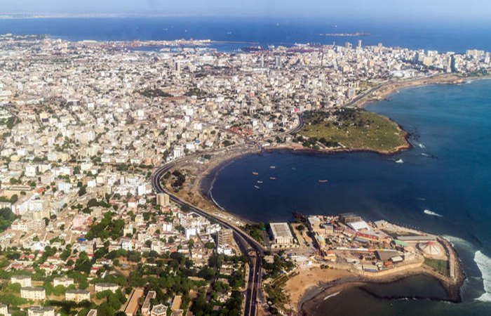 Aerial view of the city of Dakar, Senegal, by the coast of the Atlantic city; Shutterstock Image ID: 163762316; photo by Dereje; for Harvard Summer Program in Dakar, Senegal